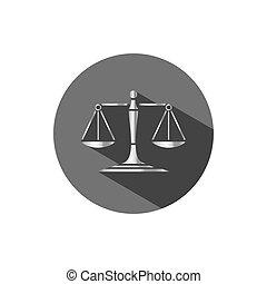 balances, justice, argent, sombre, cercle, ombre, icône