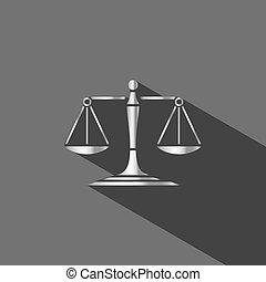 balances, justice, fond foncé, ombre, argent, icône