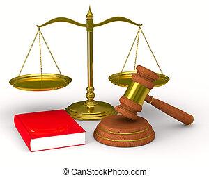 balances, justice, image, isolé, arrière-plan., blanc, marteau, 3d
