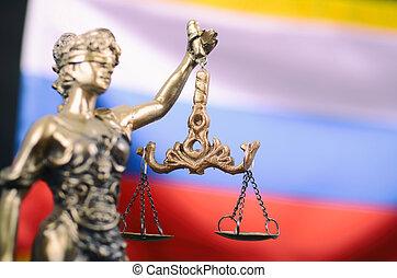balances, justice, justice, justitia, arrière-plan., drapeau, devant, russe, dame
