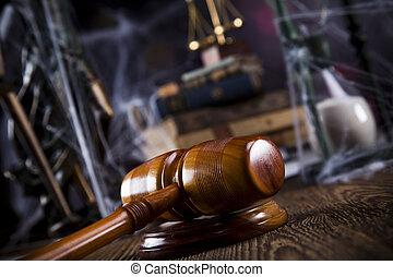 balances justice, marteau, et, livres