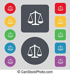 balances justice, signe, icon., tribunal, droit & loi, symbole., ensemble, coloré, buttons.