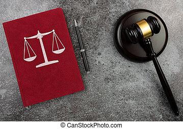 balances, justice, table, marteau, livre, juges, droit & loi, marbre