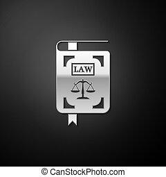 balances, livre, isolé, statut, droit & loi, arrière-plan., argent, noir, vecteur, long, style., justice, icône, ombre