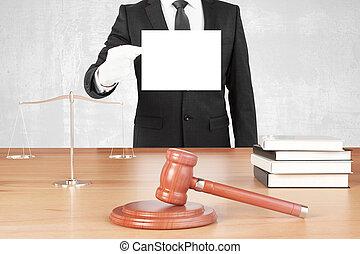 balances, livres, haut, papier, gants, vide, juge, table, blanc, marteau, railler, homme