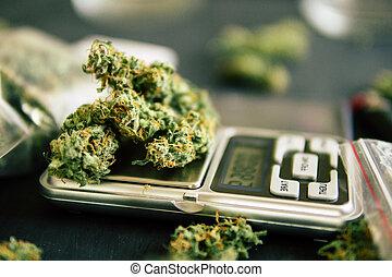 balances, macro, trichomes, marijuana, mauvaise herbe, cannabis, fleurs