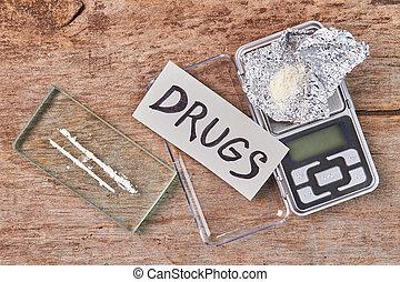balances, message., fleuret, narcotiques