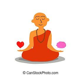 balances, moine, entre, brain., coeur, bouddhiste