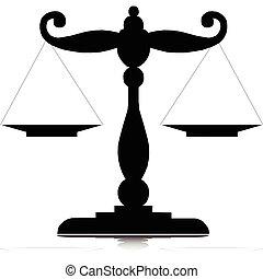 balances, silhouettes, vecteur, une