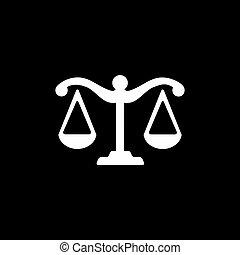 balances, style, arrière-plan., noir, icône, justice, plat, illustration., vecteur
