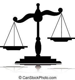 balances, vecteur, silhouettes