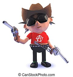 balancim, boiadeiro, vestido, punk, caricatura, 3d, armas, personagem