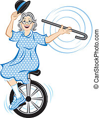 Vector Illustration of an elderly woman balancing on a unicycle and showing off her superb balancing skills