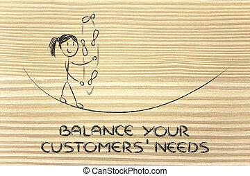 balancing and managing customers' needs: funny girl juggling