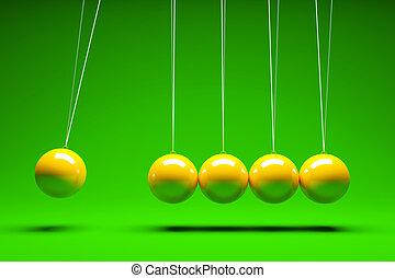 Balancing balls - 3d render of five balancing balls