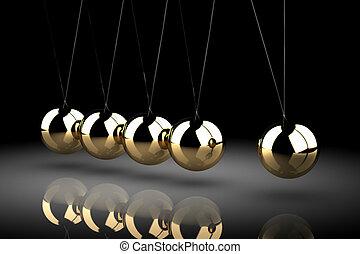 Balancing balls Newton's cradle (high resolution 3D image)