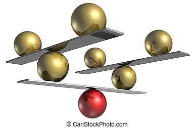six gold balls balance on a single red
