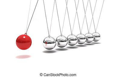 Balancing balls (Time cradle) - 3D rendering of Newton's ...