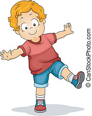 Balancing Boy - Illustration of a Young Boy with His Arms...