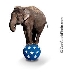Domesticated Asian Elephant balancing on a Circus ball.