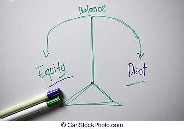 Balancing Equity and Debt text with keywords isolated on white board background. Chart or mechanism concept.
