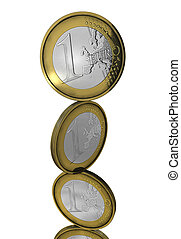 Balancing euro coins isolated - Four shining coins in column...