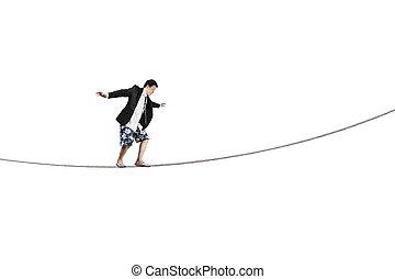 Balancing on rope