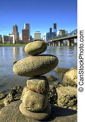 Balancing Rocks against City Skyline