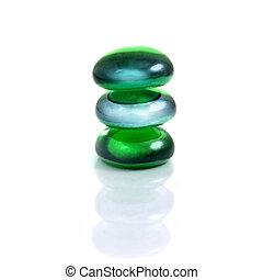 balancing spa shiny stones isolated on white