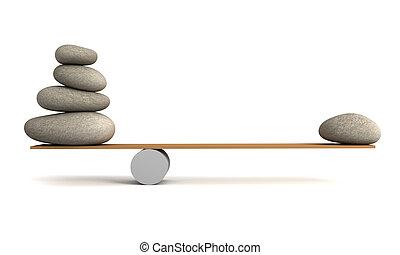 balancing stones 3d illustration isolated on white ...