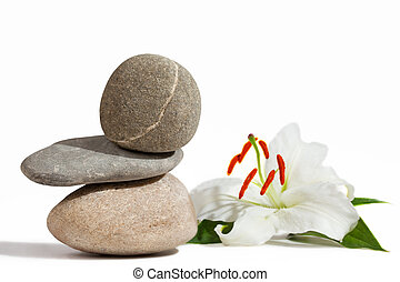 Balancing stones and White Lily
