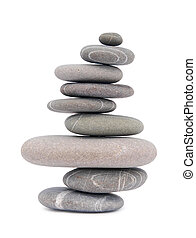 balancing stones - balancing pebbles isolated on white