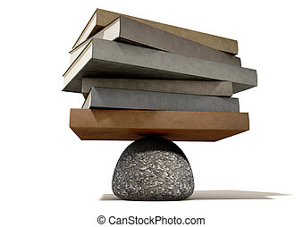 Balancing The Books On A Rock - A pile of leather books ...