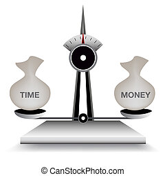 Balancing Time and Money - An image of a scale balancing...