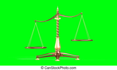 3D illustration of balancing brass weight scales isolated on green screen background