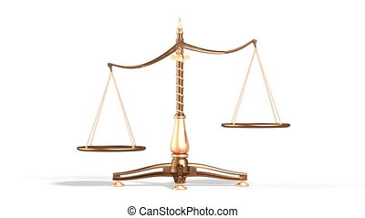 Balancing Weight Scales - 3D illustration of balancing brass...