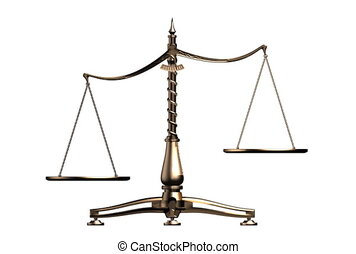 3D illustration of balancing brass weight scales isolated on white background