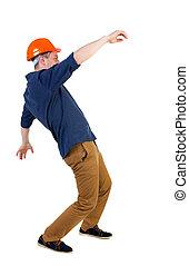 Balancing young man.