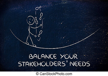 concept of dealing with stakeholders' needs: funny character juggling