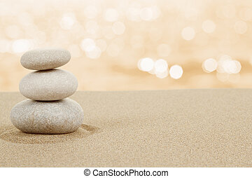 balans, zen, stenar, in, sand, vita