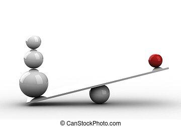balansowy, piłki, na, drewniana deska