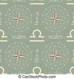 balanzas., signo astrología, seamless, patrón