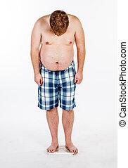 balanzas., sobrepeso, hombre gordo