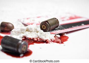 balas, sangue, e, cocaína, -, crime, conceito