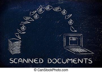 balayé, documents:, balayage, papier, et, tourner, il, dans, données