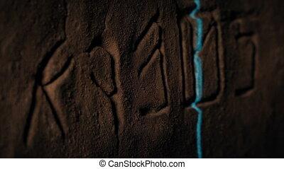 balayé, laser, rune, symboles, découpage, rocher