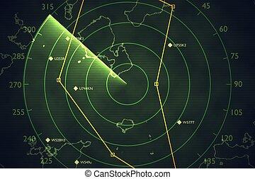 balayage, écran, air, militaire, illus, radar, traffic., ...