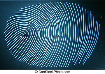balayage, balayage, system., rendering., identification., accès, identification, fournit, empreinte doigt, sécurité, biométrie, 3d