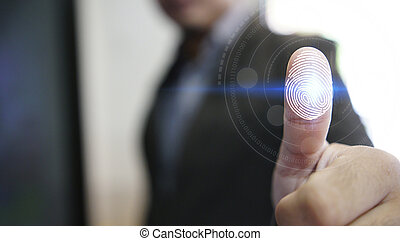 balayage, concept, personnel, technology., système, identifier, empreinte doigt, homme affaires, login, sécurité