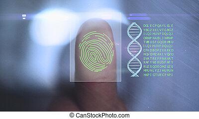 balayage, concept, personnel, technology., système, identifier, empreinte doigt, sécurité